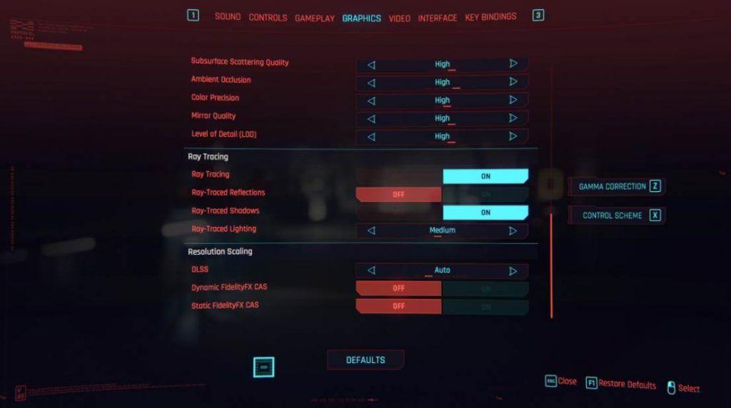 cyberpunk ray tracing settings