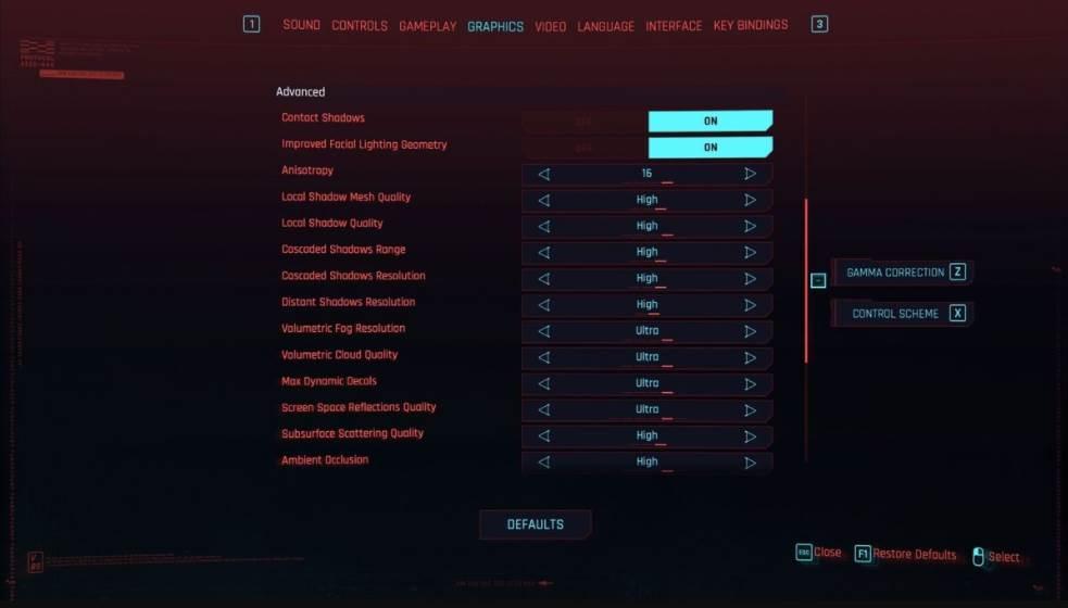 cyberpunks pc graphics settings