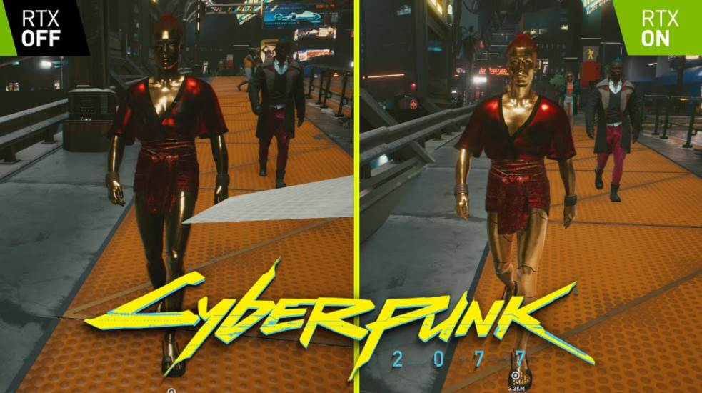 showing the difference of RTX ON vs OFF in cyberpunk