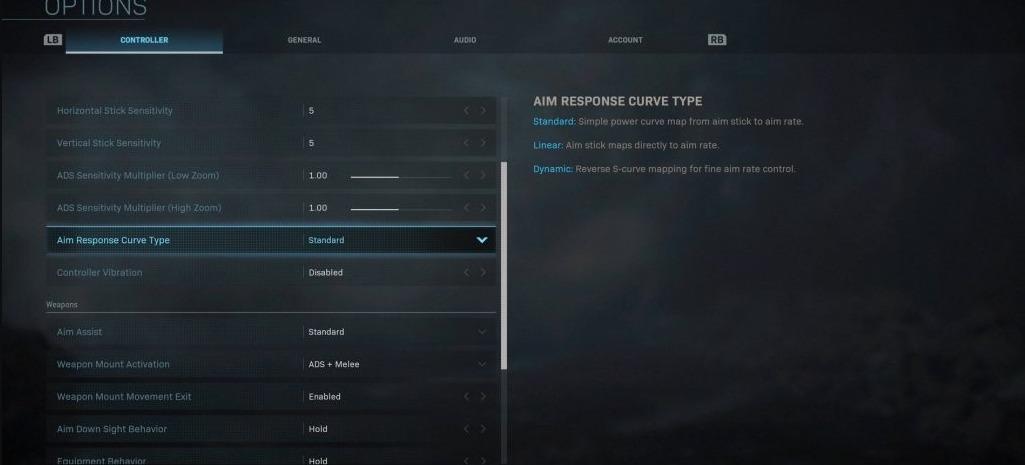 Aim response curve type Modern Warefare