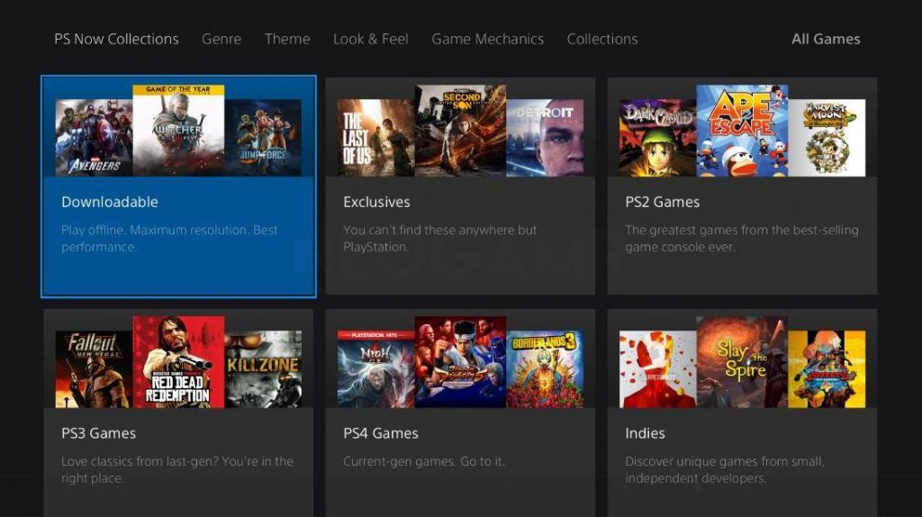 All Games Catalogue in PS Now