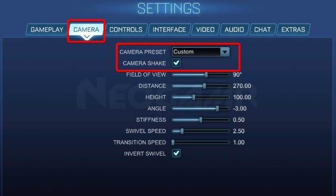 How to change the camera shake settings in Rocket League