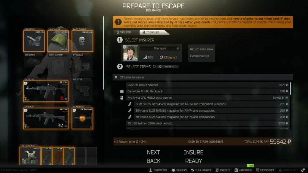 Image of Escape From Tarkov Insurance Screen