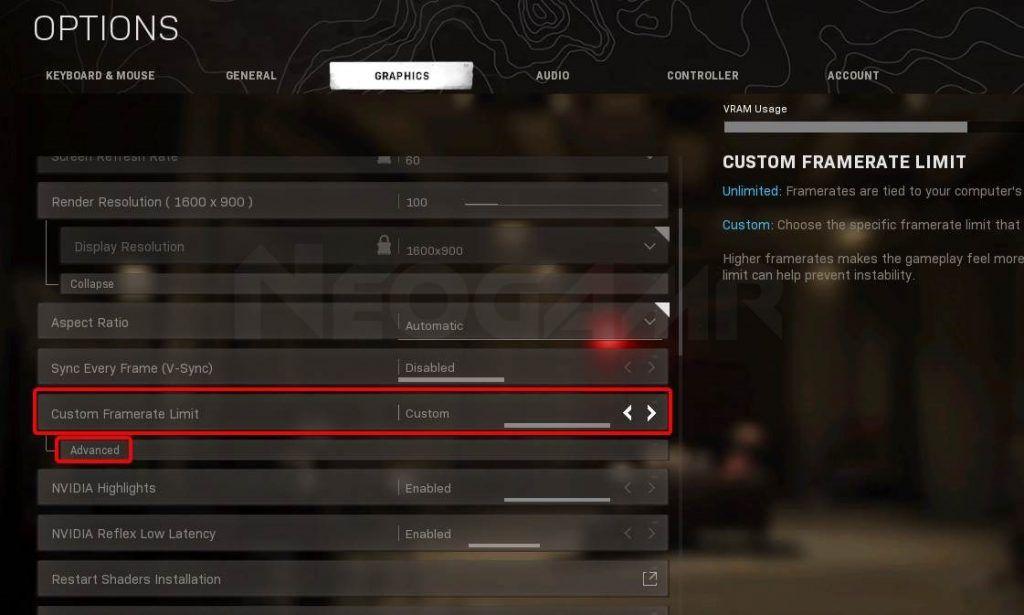 Image of Modern Warfare Custom Frame limit