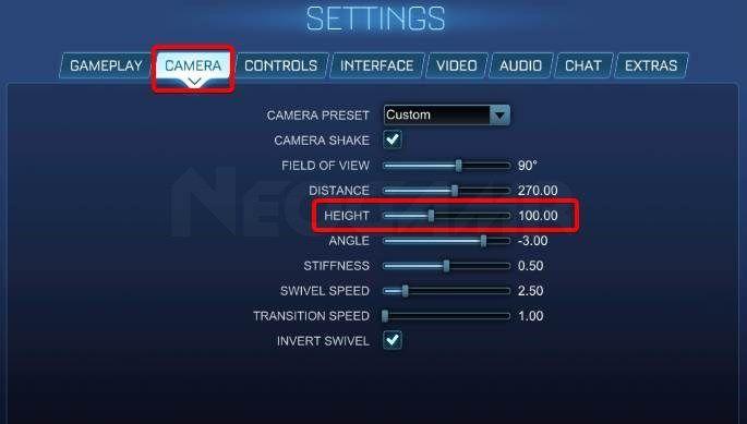 Image of Rocket League Camera Height settings