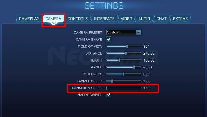Image of Rocket League Transition Speed Settings