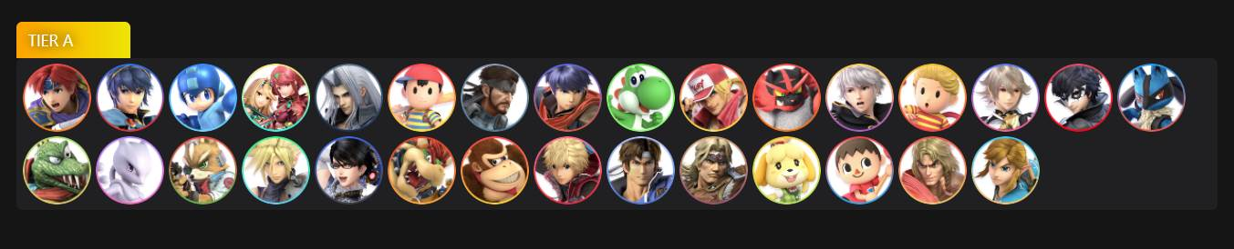 Image of Tier A Characters in Super Smash Bros