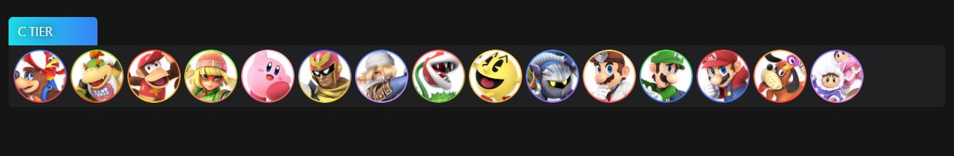 Image of Tier C Characters in Super Smash Bros