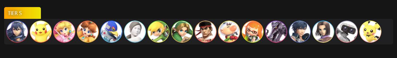 Image of Tier S Characters in Super Smash Bros