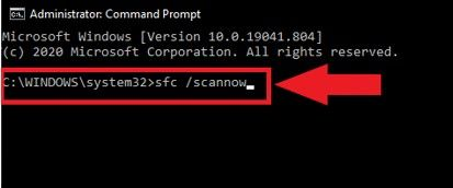 Image of command for scannow