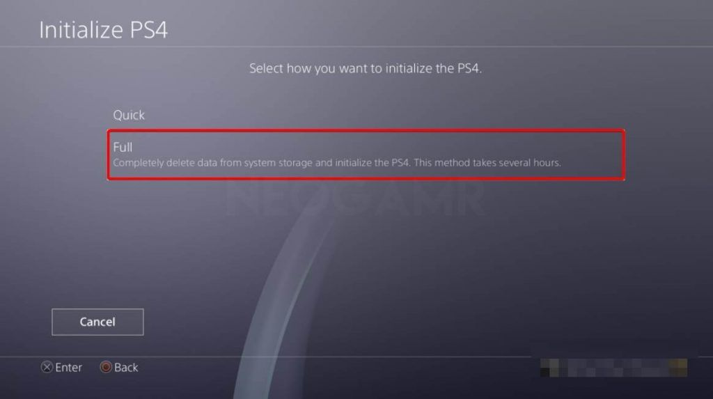 Image of fully Initialize your ps4