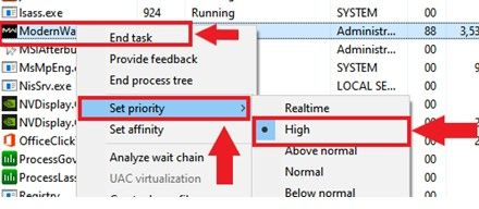 Image of how to set priority
