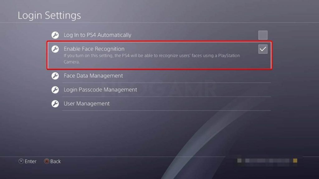 Image of login settings in ps4 pro