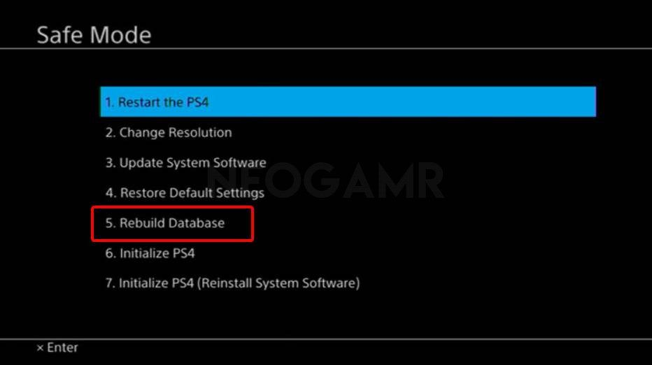 Image of ps4 safe mode options