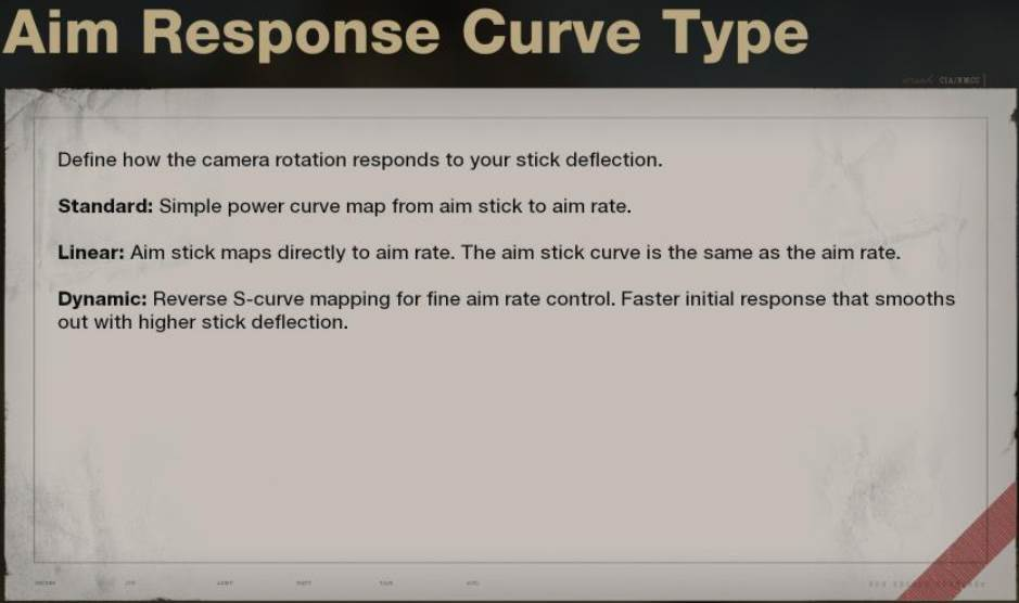 Ingame preview of the Aim Response Curve Type