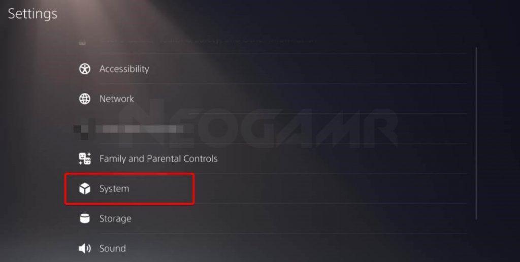 Select System in PS5 settings menu