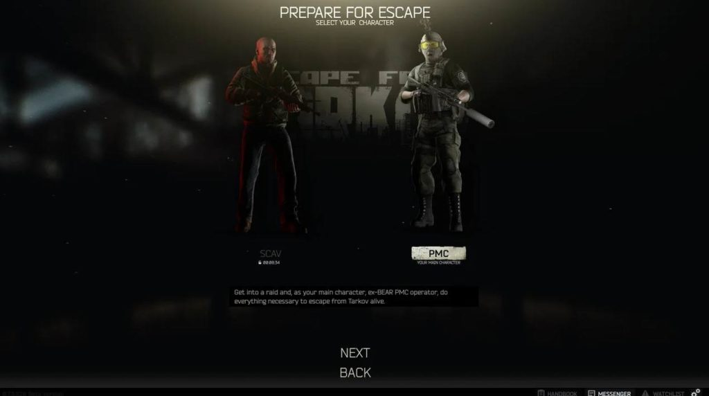 Select your team SCAV or PMC in EFT