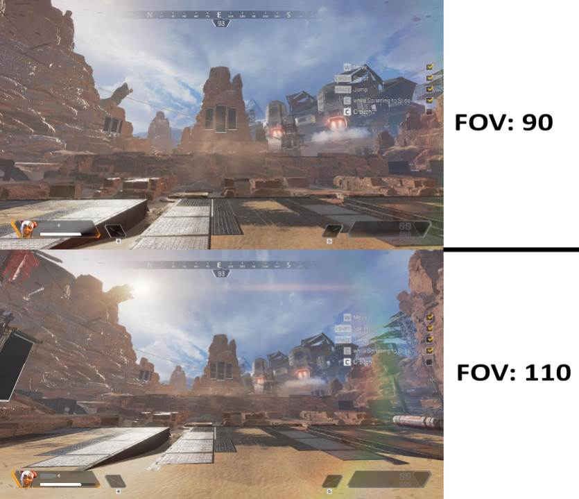 Showing an Example of FOV in Apex Legends