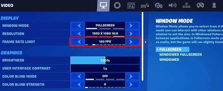 Showing the FPS Options in Fortnite