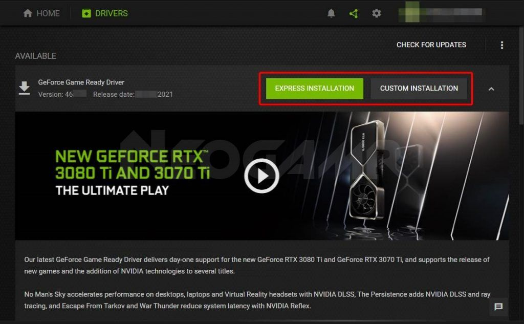 Showing which option to use for driver updates in geforce experience