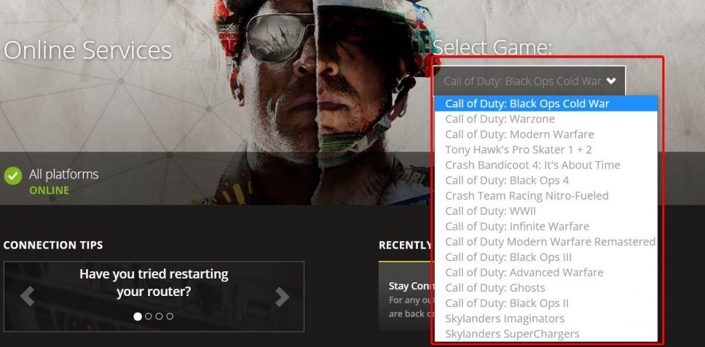 image how to check activision games online services