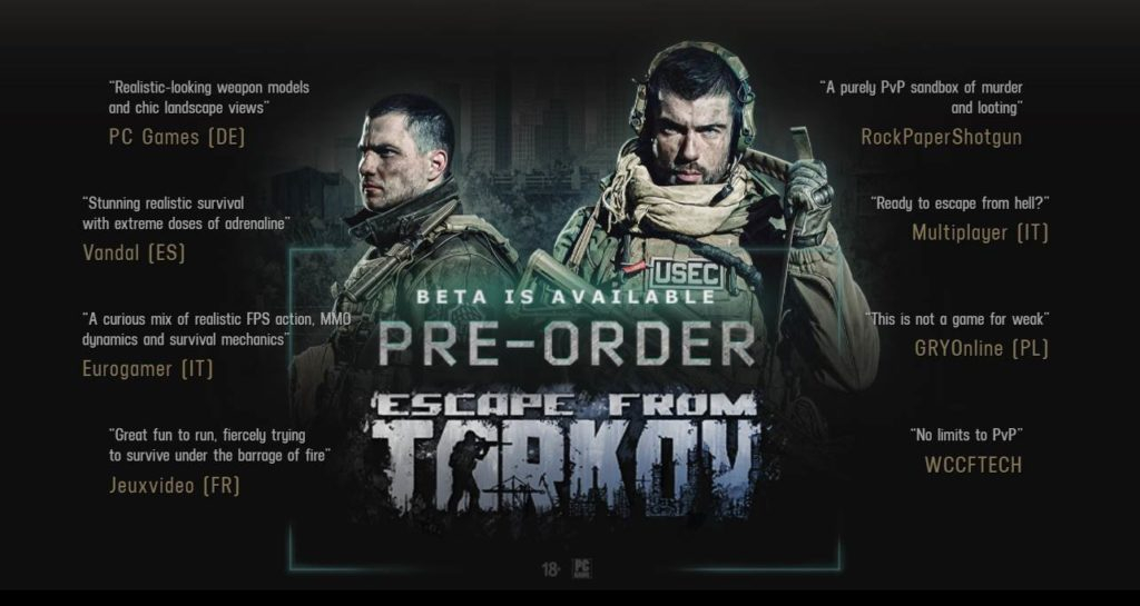 image of Escape From Tarkov's Website home page