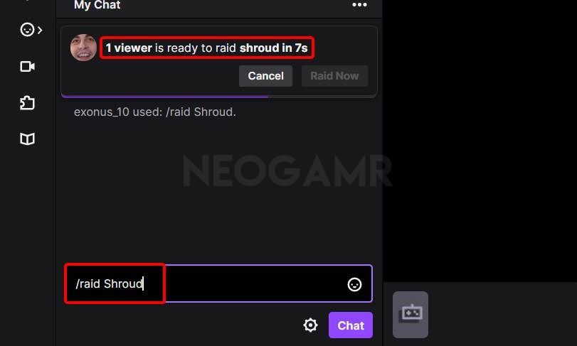 image of Raid Command in twitch