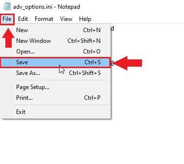 image of saving notepad file