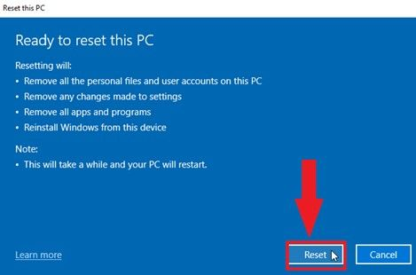 showing ready to reset this pc