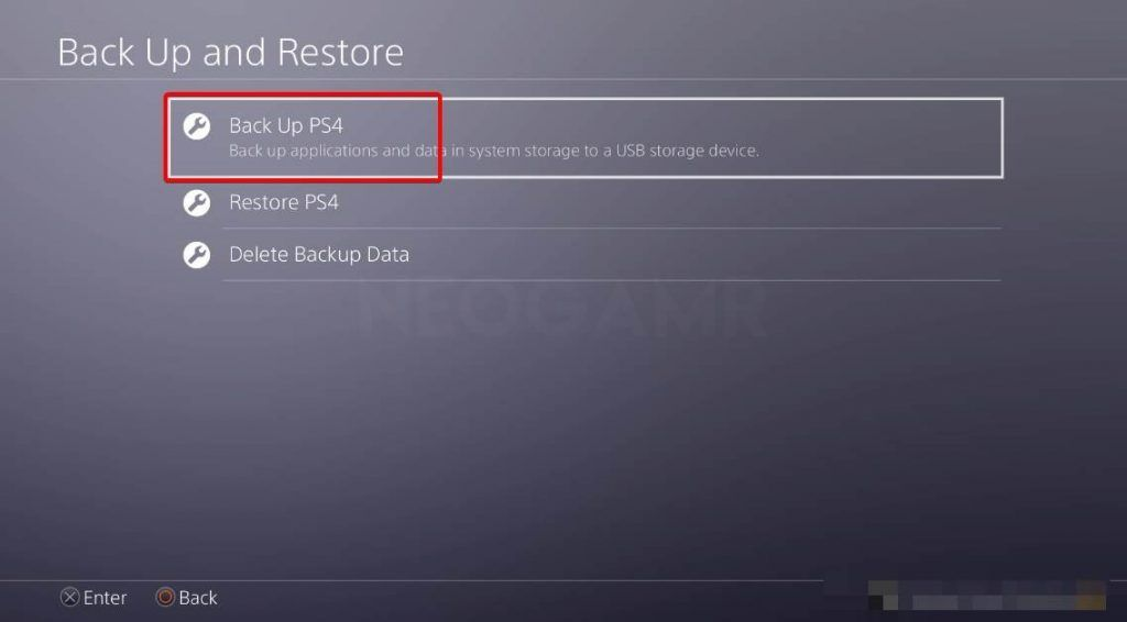 showing the backup option in ps4