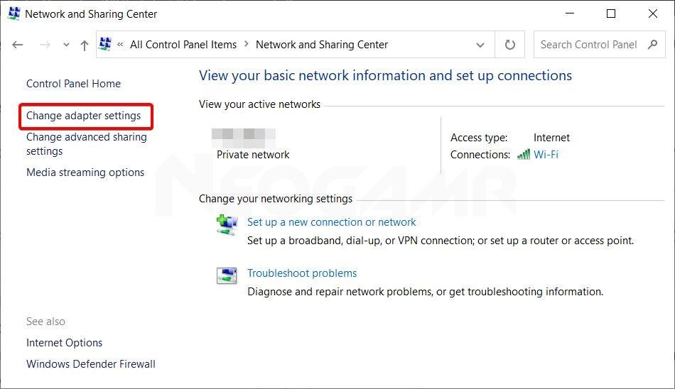 showing the change adapter option in windows