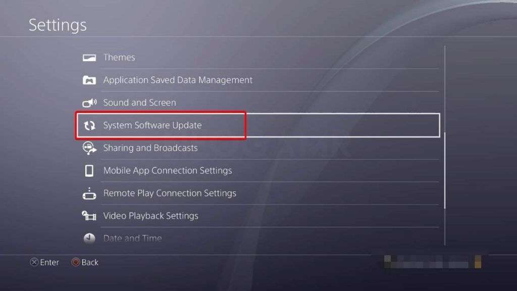 showing the system update of ps4