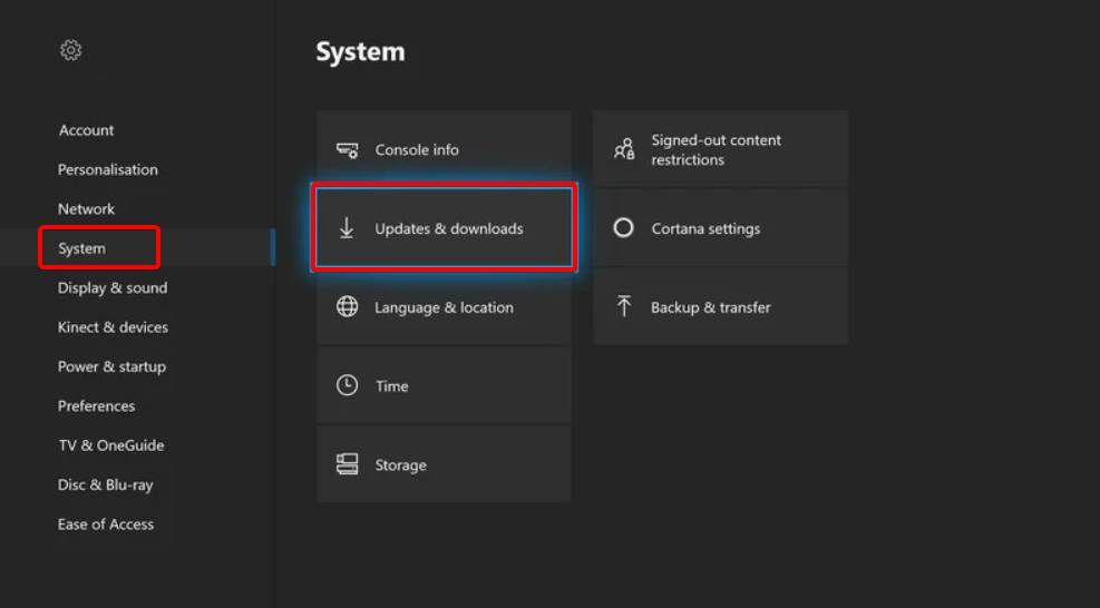 where to find the xbox one update option