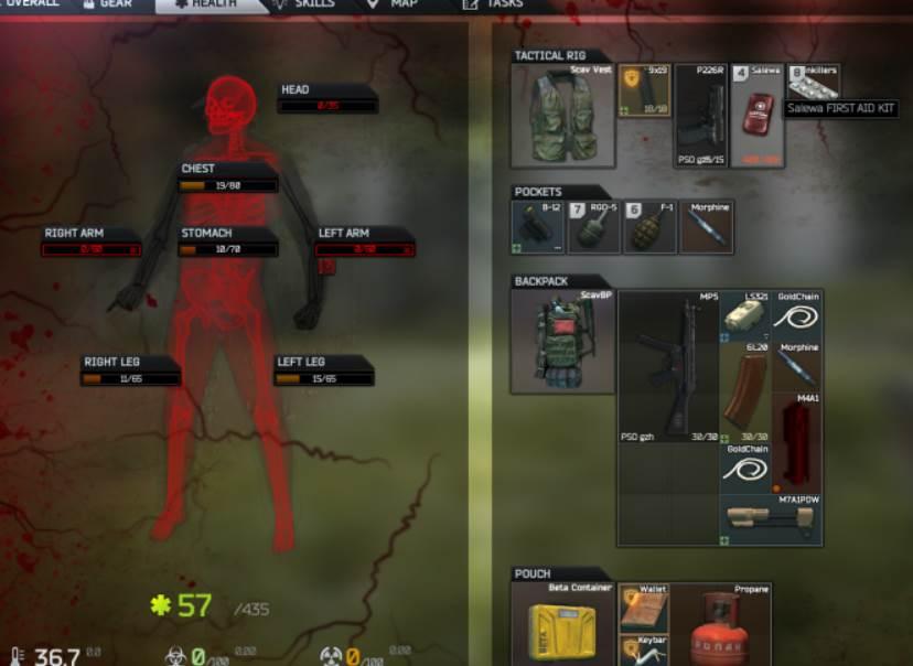 Body Hitpoints in Escape From Tarkov