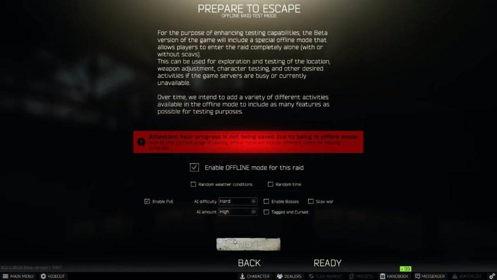 Image of EFT Offline Mode Settings