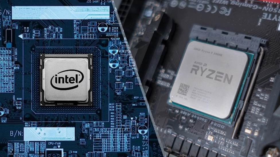 image of ryzen and intel cpus in motherboards
