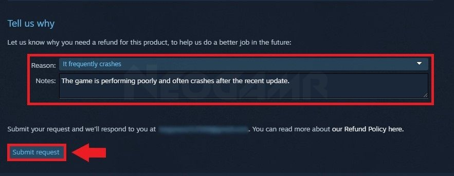image of sending a request to refund game