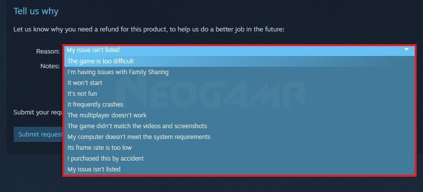 image of steam refund requesting page