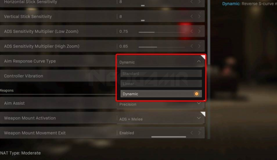 Image of Aim Curve Response Time Settings in Warzone and mw