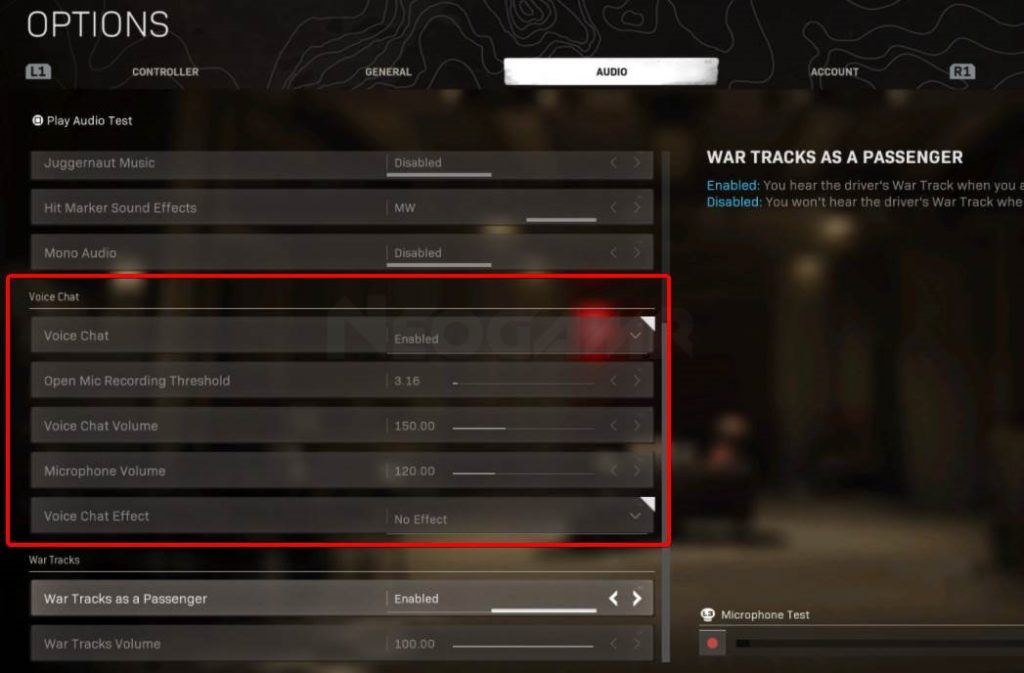 Image of Warzone voice chat settings