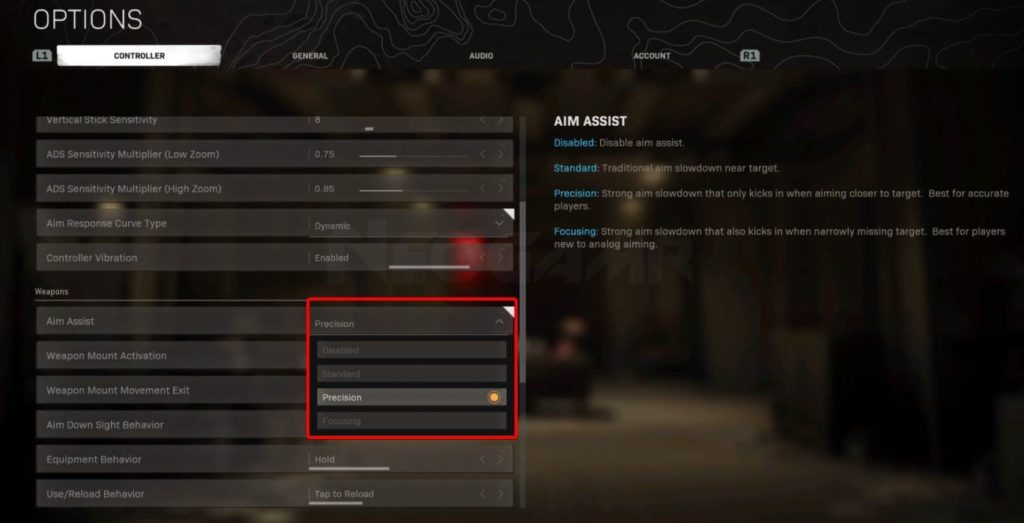 Image of Weapon aim assist settings in warzone