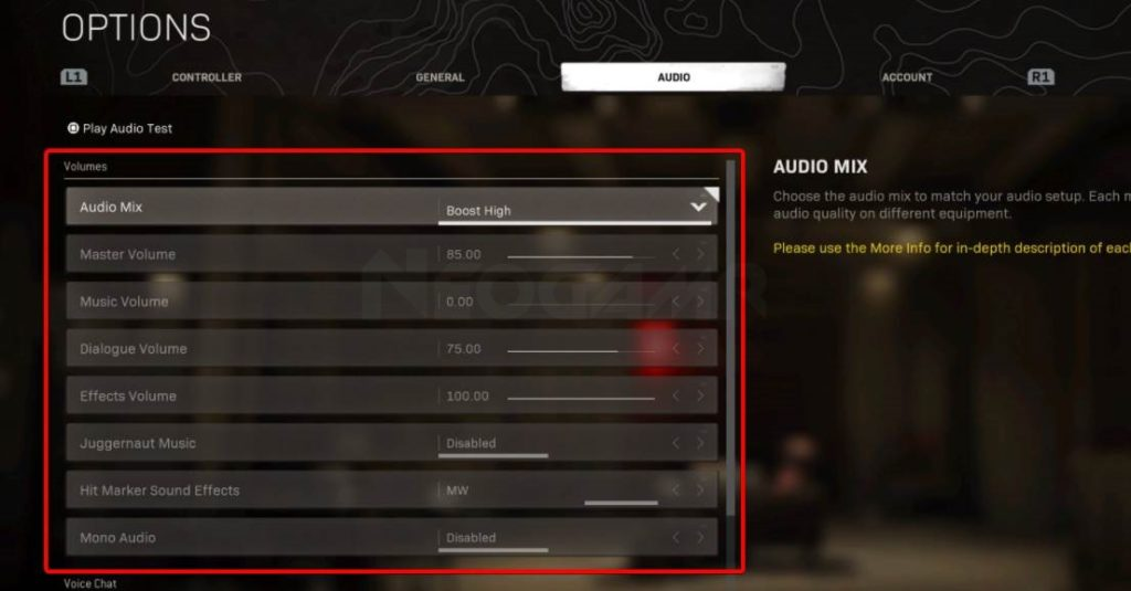 image of warzone and mw audio settings